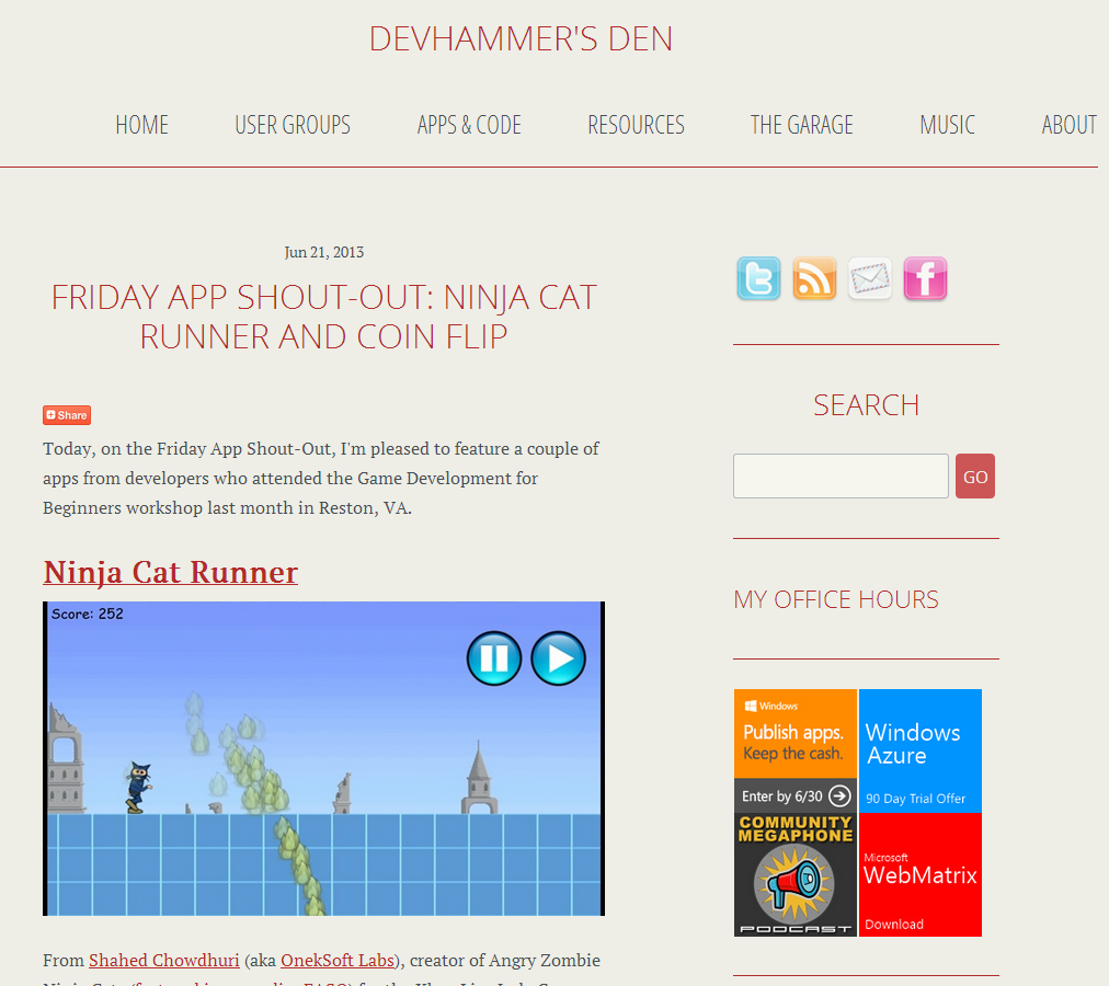 Ninja Cat Runner On DevHammer.net