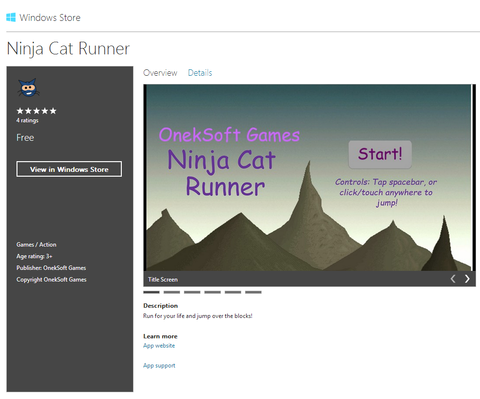 Ninja Cat Runner on Windows Store