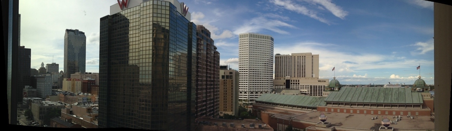 Panoramic shot of New Orleans from Loews Hotel