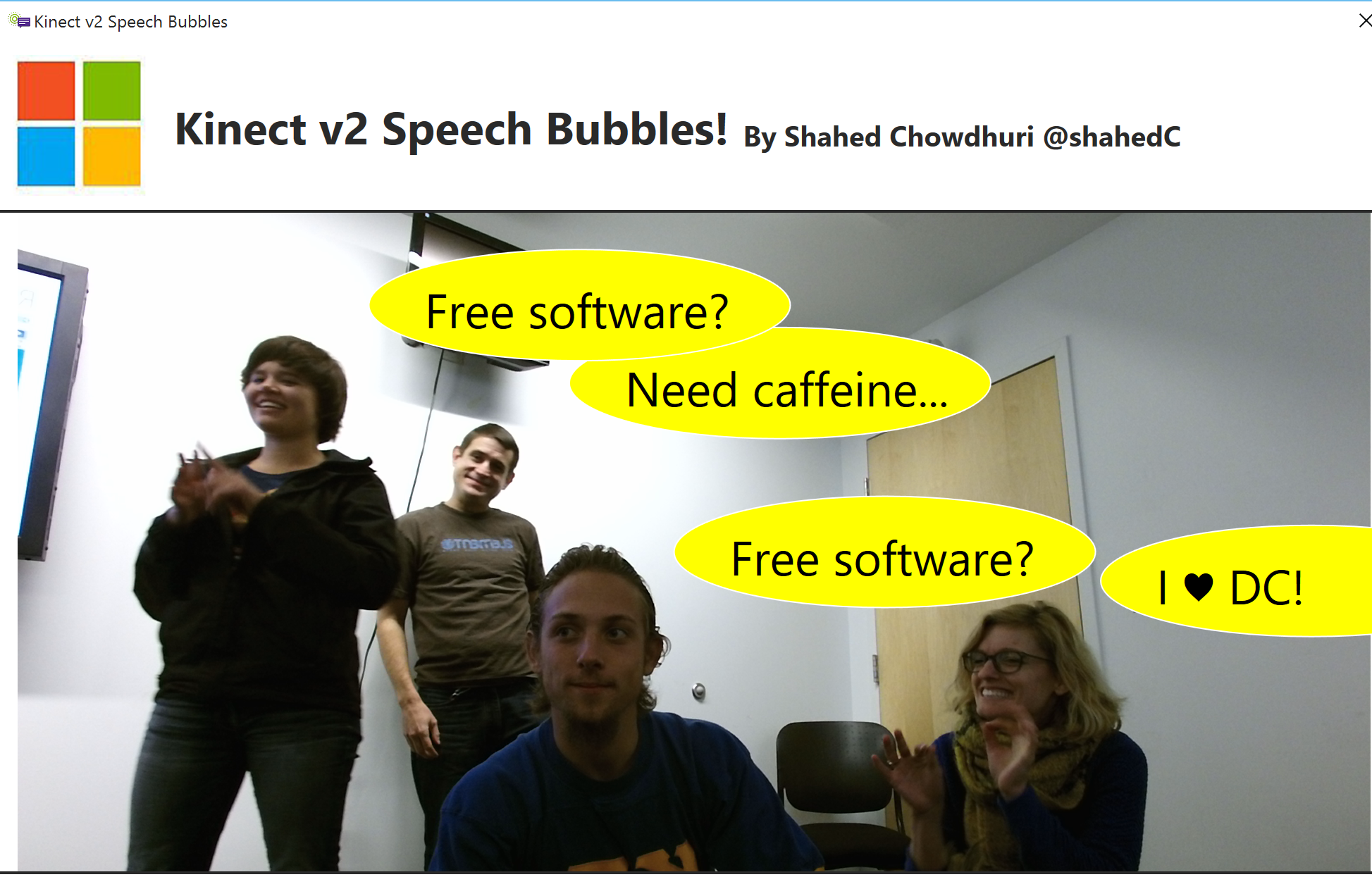 Posing for Speech Bubbles with Kinect!