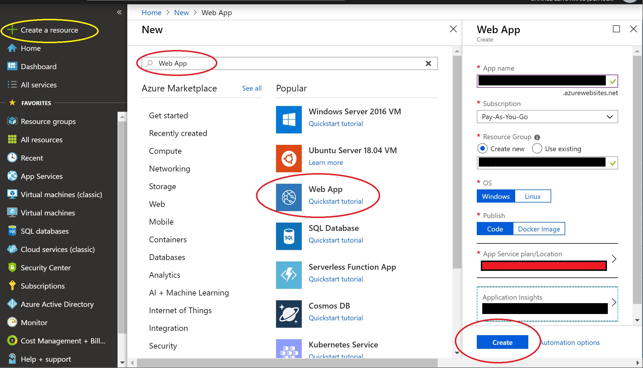 New Web App in Azure